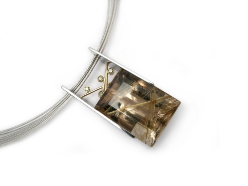 rutilated quartz and colored diamonds set in palladium and 14k yellow gold, design by Jason Baskin