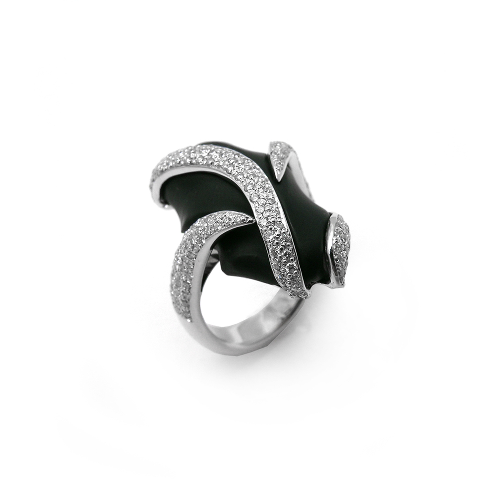 carved back oyx and pavé set diamonds in 14k white gold, design by Jason Baskin