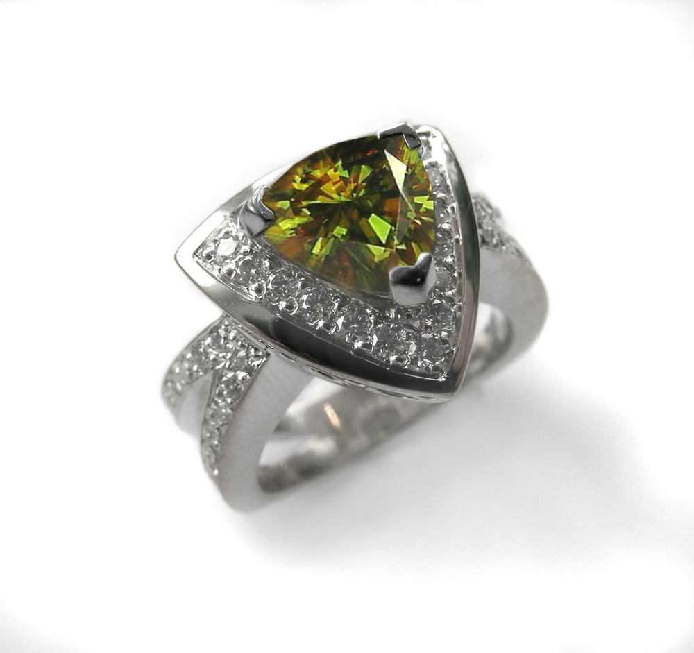 sphene and pavé set diamonds, design by Jason Baskin