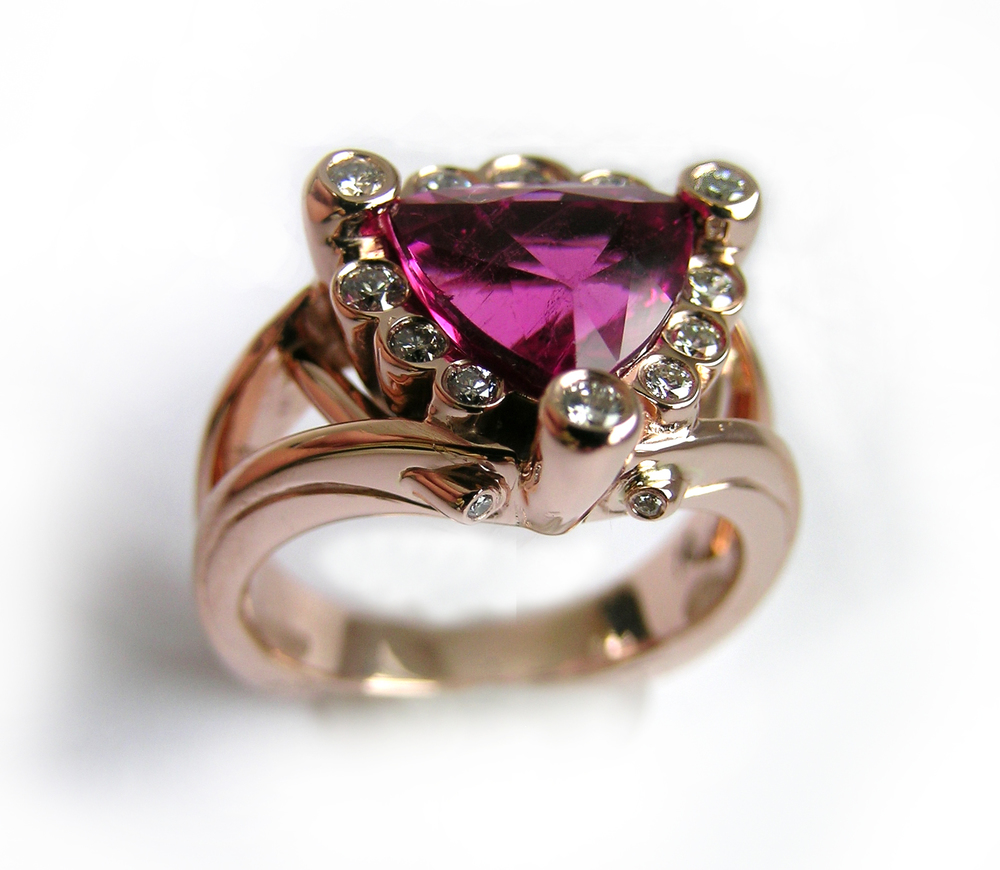 Pink tourmaline and diamonds, 14K rose gold