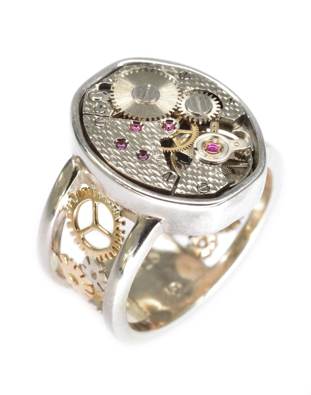 sterling silver and 14k gold ring with vintage watch movement, designed by Darren Demarco.