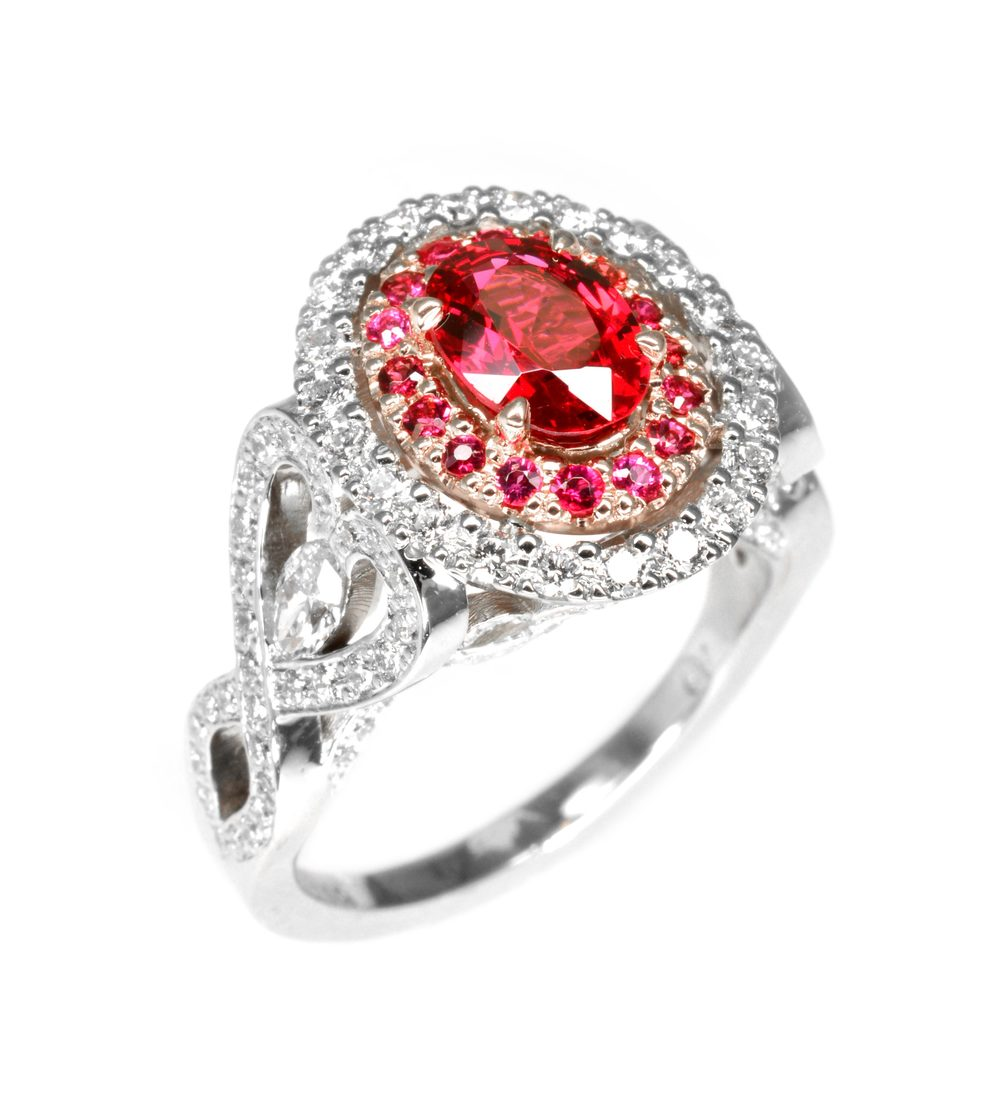 "14k white gold ring pave set with fine white diamonds accenting a rose gold center set with a fine deep-pink spinel, surrounded with pav     Normal   0           false   false   false     EN-US   X-NONE   X-NONE                                        MicrosoftInternetExplorer4                                         é                                                                                                                                                                                                                                                                                            /* Style Definitions */  table.MsoNormalTable 	{mso-style-name:""Table Normal""; 	mso-tstyle-rowband-size:0; 	mso-tstyle-colband-size:0; 	mso-style-noshow:yes; 	mso-style-priority:99; 	mso-style-qformat:yes; 	mso-style-parent:""""; 	mso-padding-alt:0in 5.4pt 0in 5.4pt; 	mso-para-margin-top:0in; 	mso-para-margin-right:0in; 	mso-para-margin-bottom:10.0pt; 	mso-para-margin-left:0in; 	mso-pagination:widow-orphan; 	font-size:11.0pt; 	font-family:""Calibri"",""sans-serif""; 	mso-ascii-font-family:Calibri; 	mso-ascii-theme-font:minor-latin; 	mso-fareast-font-family:""Times New Roman""; 	mso-fareast-theme-font:minor-fareast; 	mso-hansi-font-family:Calibri; 	mso-hansi-theme-font:minor-latin;}   red spinels, designed by Jason Baskin."