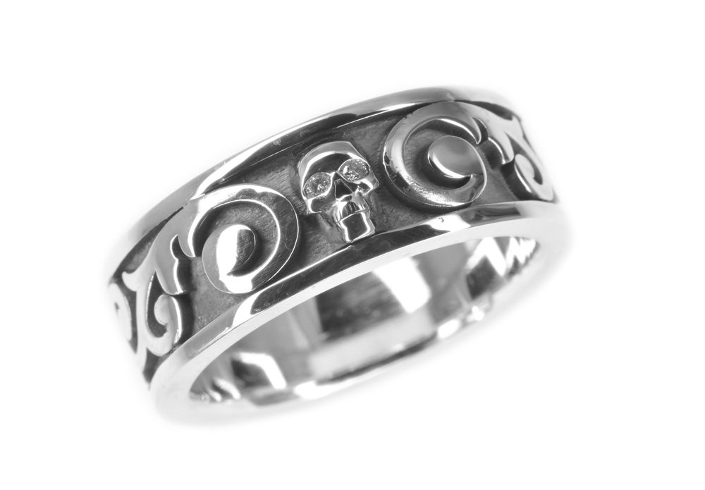 custom gents wedding band made from an very hard and durable silver alloy, designed by Jason Baskin.