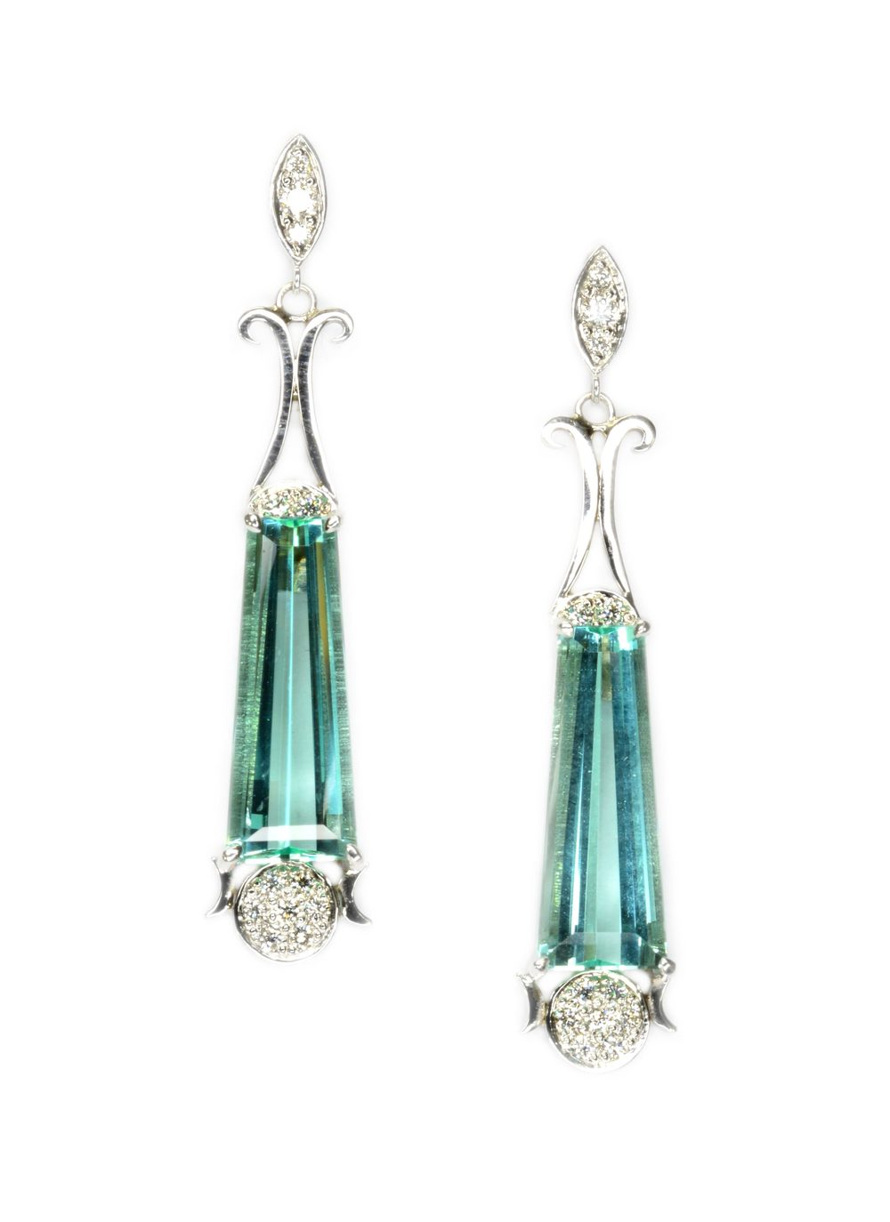 "14k white gold dangle style earrings set with a pair of fine green tourmalines, accented with pav     Normal   0           false   false   false     EN-US   X-NONE   X-NONE                                        MicrosoftInternetExplorer4                                         é                                                                                                                                                                                                                                                                                            /* Style Definitions */  table.MsoNormalTable 	{mso-style-name:""Table Normal""; 	mso-tstyle-rowband-size:0; 	mso-tstyle-colband-size:0; 	mso-style-noshow:yes; 	mso-style-priority:99; 	mso-style-qformat:yes; 	mso-style-parent:""""; 	mso-padding-alt:0in 5.4pt 0in 5.4pt; 	mso-para-margin-top:0in; 	mso-para-margin-right:0in; 	mso-para-margin-bottom:10.0pt; 	mso-para-margin-left:0in; 	mso-pagination:widow-orphan; 	font-size:11.0pt; 	font-family:""Calibri"",""sans-serif""; 	mso-ascii-font-family:Calibri; 	mso-ascii-theme-font:minor-latin; 	mso-fareast-font-family:""Times New Roman""; 	mso-fareast-theme-font:minor-fareast; 	mso-hansi-font-family:Calibri; 	mso-hansi-theme-font:minor-latin;}                set diamonds, designed by Sharon Curtiss-Gal."