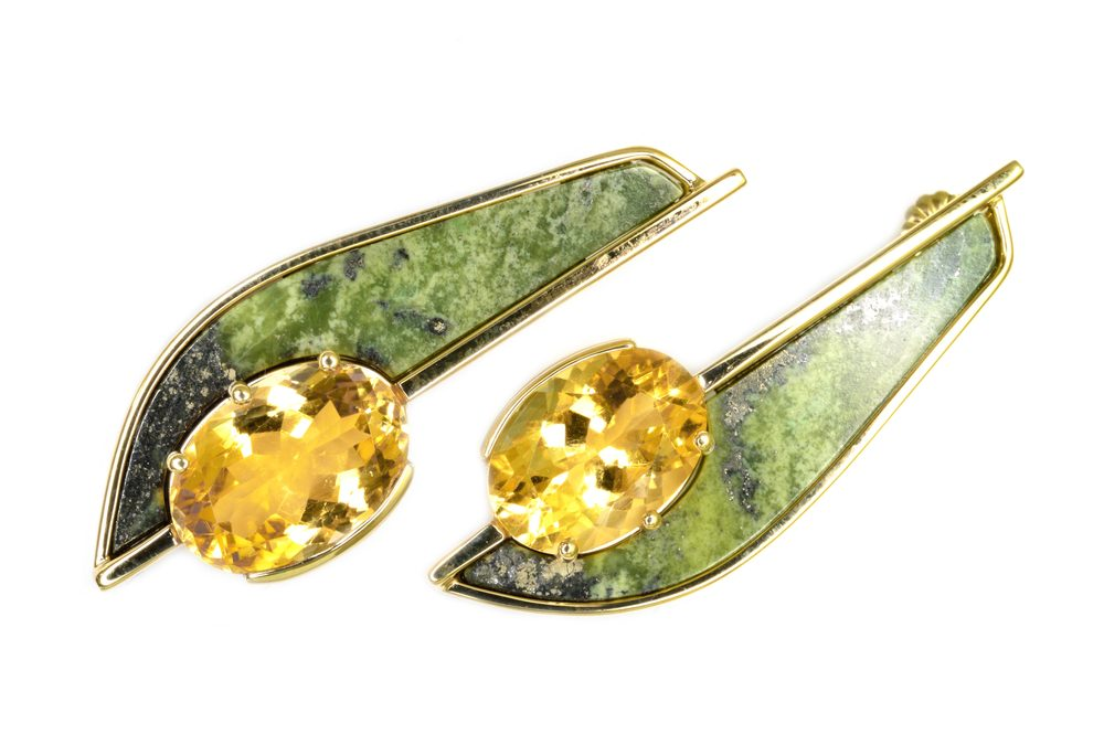 14k yellow gold custom designed earrings set with vibrant yellow citrines and bright green serpentine slices, designed by Jason Baskin.