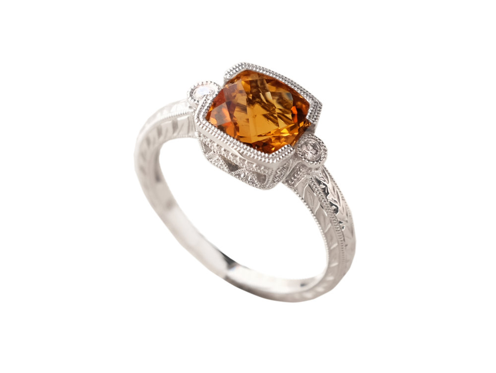 Fine Citrine in 14k white gold ring from The Gem Vault