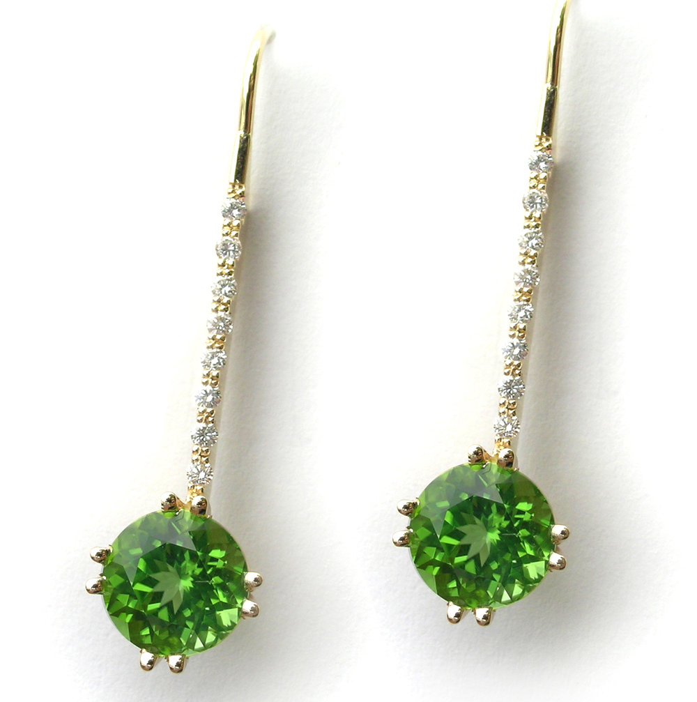 Peridot and Diamond custom earrings designed by Jason Baskin at The Gem Vault