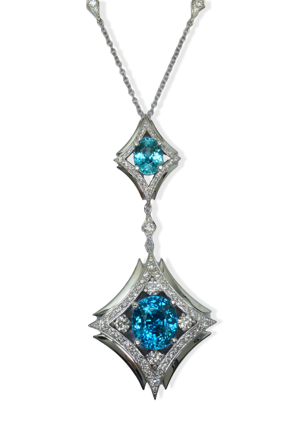 Blue Zircon necklace, designed by and found exclusively at The Gem Vault.