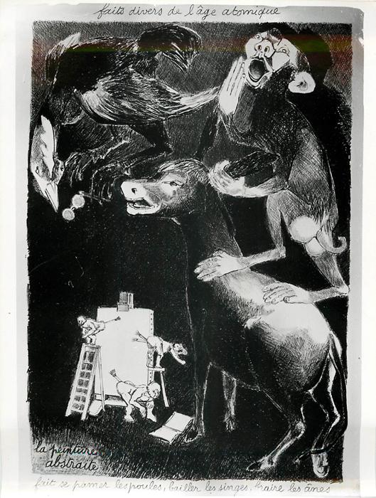 La peinture abstraite fait se pâmer les poules, bayer les singes, braire les ânes