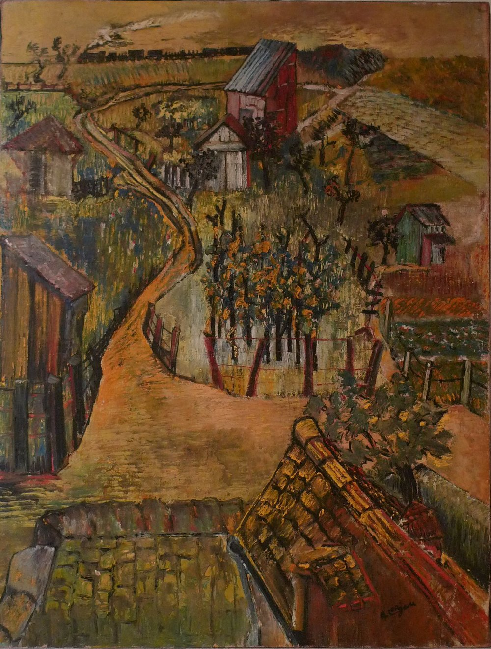 Landscape of the railroad tracks (1941)