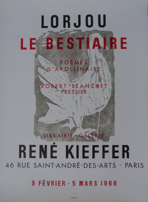 Le Bestiaire     Galerie René Kieffer   Paris, France    February 9, 1966 - March 5, 1966