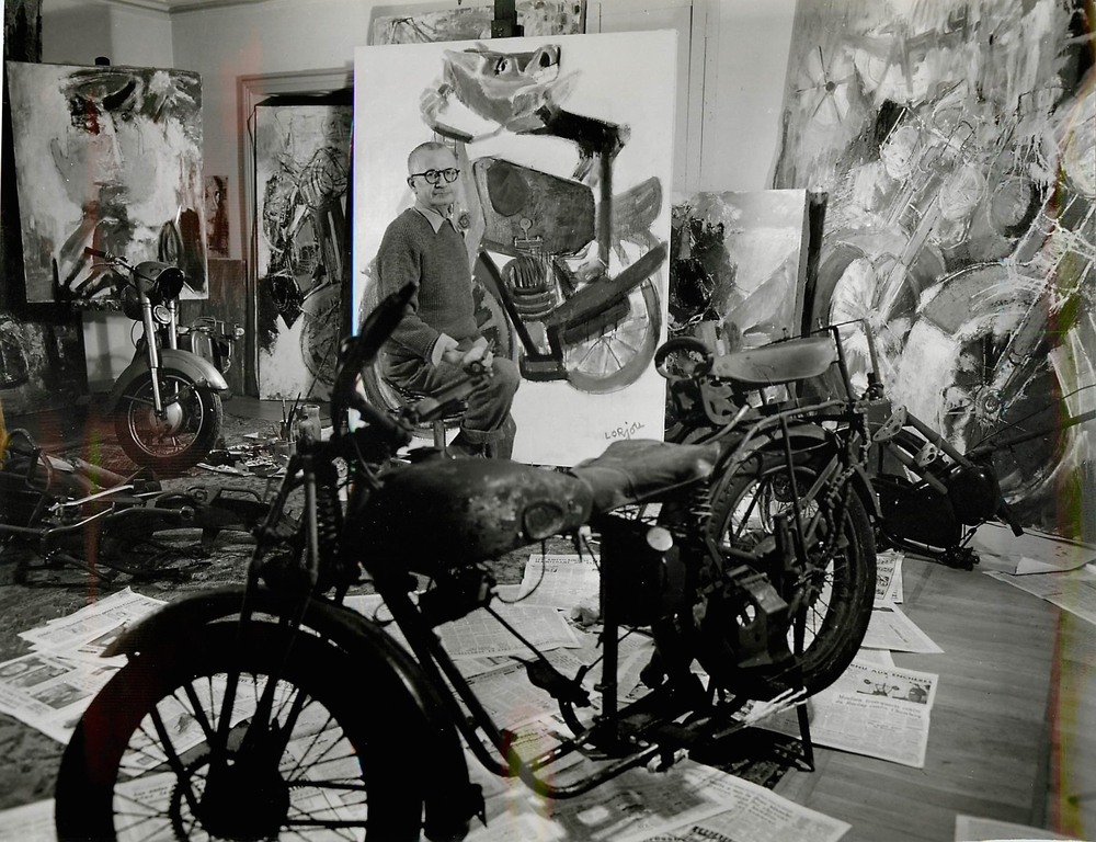 Lorjou painting in preparation for his Motocyclettes et Centaurs series