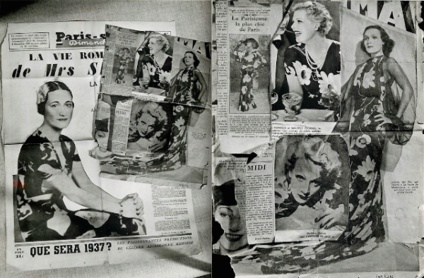 Above, some of Lorjou's large motif silk patterns worn by Marlene Dietrich, Dolores del Rio, Elvire Popesco, Jane Aubert and Wallis Simpson, Duchess of Windsor.