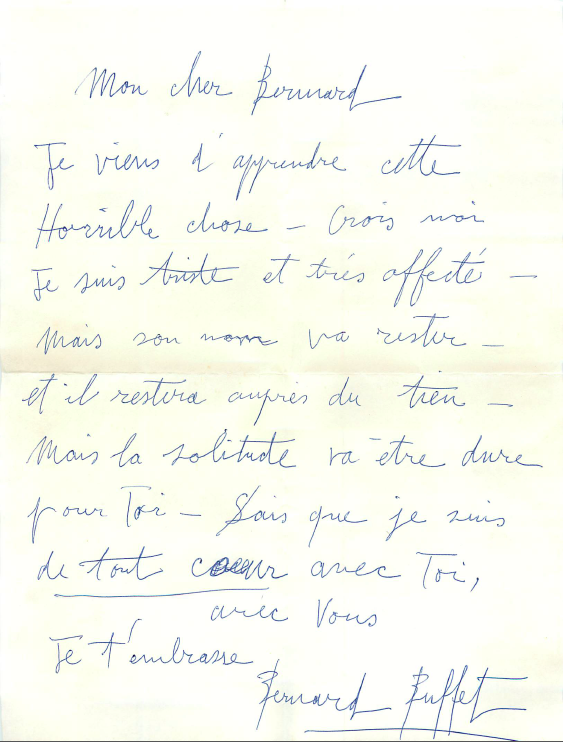Bernard Buffet's condolence letter to Bernard Lorjou