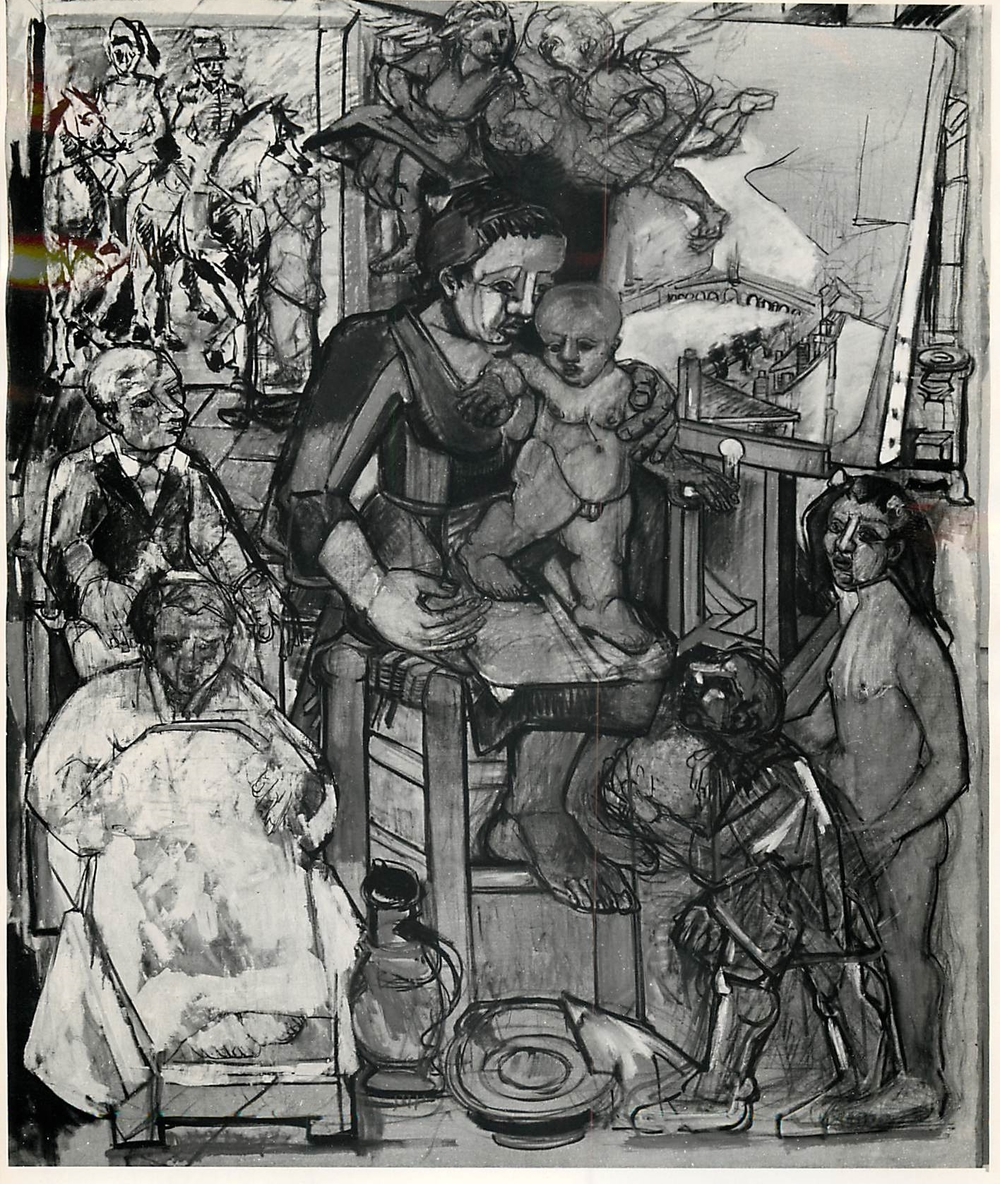 study for La Naissance du Peintre (The birth of the artist) (1949)