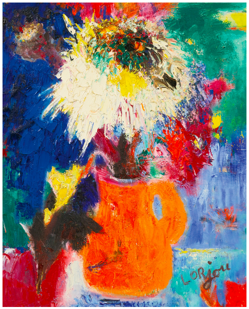 Flowers in an orange vase (c.1961-63)