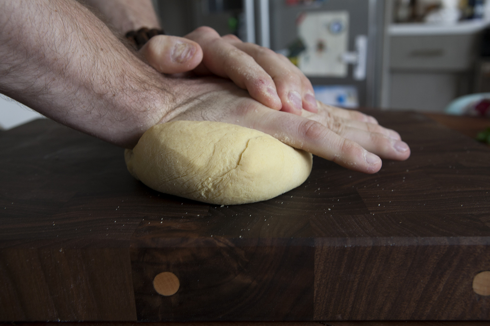Knead the dough with force, for ~ 5 minutes.