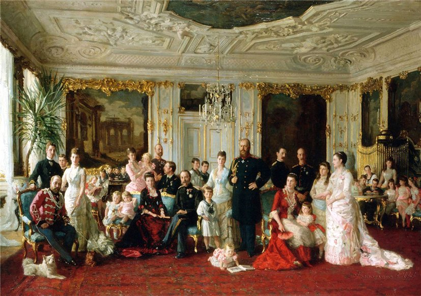 King Christian IX of Denmark with family (1886) This is the paining of which you can see the study above. It was not in the exhibition as it is in the permanent collection of Christiansborg. It is a massive 5x7 meters (17x23 foot). This is from Google but I will get a proper photo of it when we go there in march. This is a smaller copy that is at Amaliensborg Royal Museum. A few things are omitted.