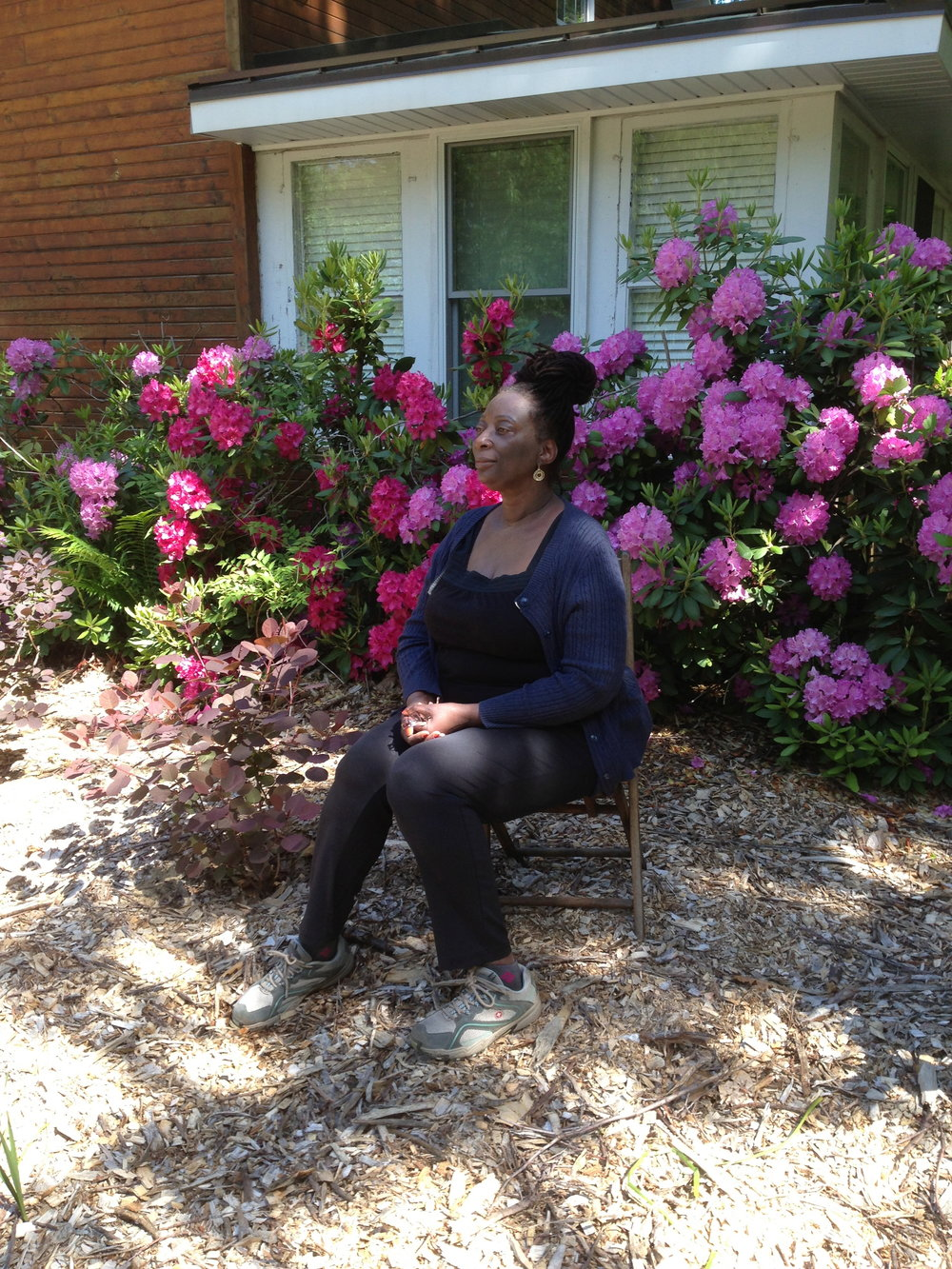 Sandra Jackson Opoku at writer's retreat in Union Pier, Michigan.
