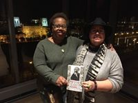 l-r. Tina Jenkins Bell and Lydia Barnes celebrate the debut of Revise the Psalm. Tina will speak about her work in Revise the Psalm and other pieces inspired by Chicago's west side at the West Writer's Guild reunion, July 20, 2017, 6p.