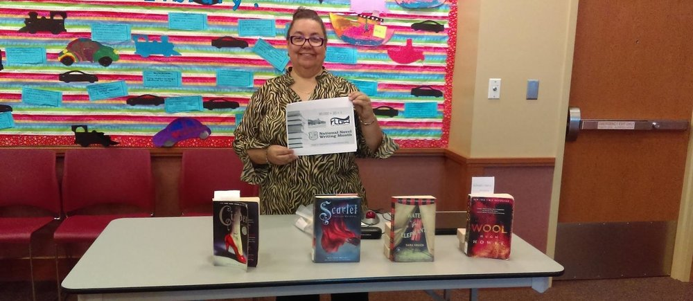 Lydia Barnes, FLOW Vice President, presented a NaNoWriMo workshop last fall at the Chicago Public Library, Beverly Branch.