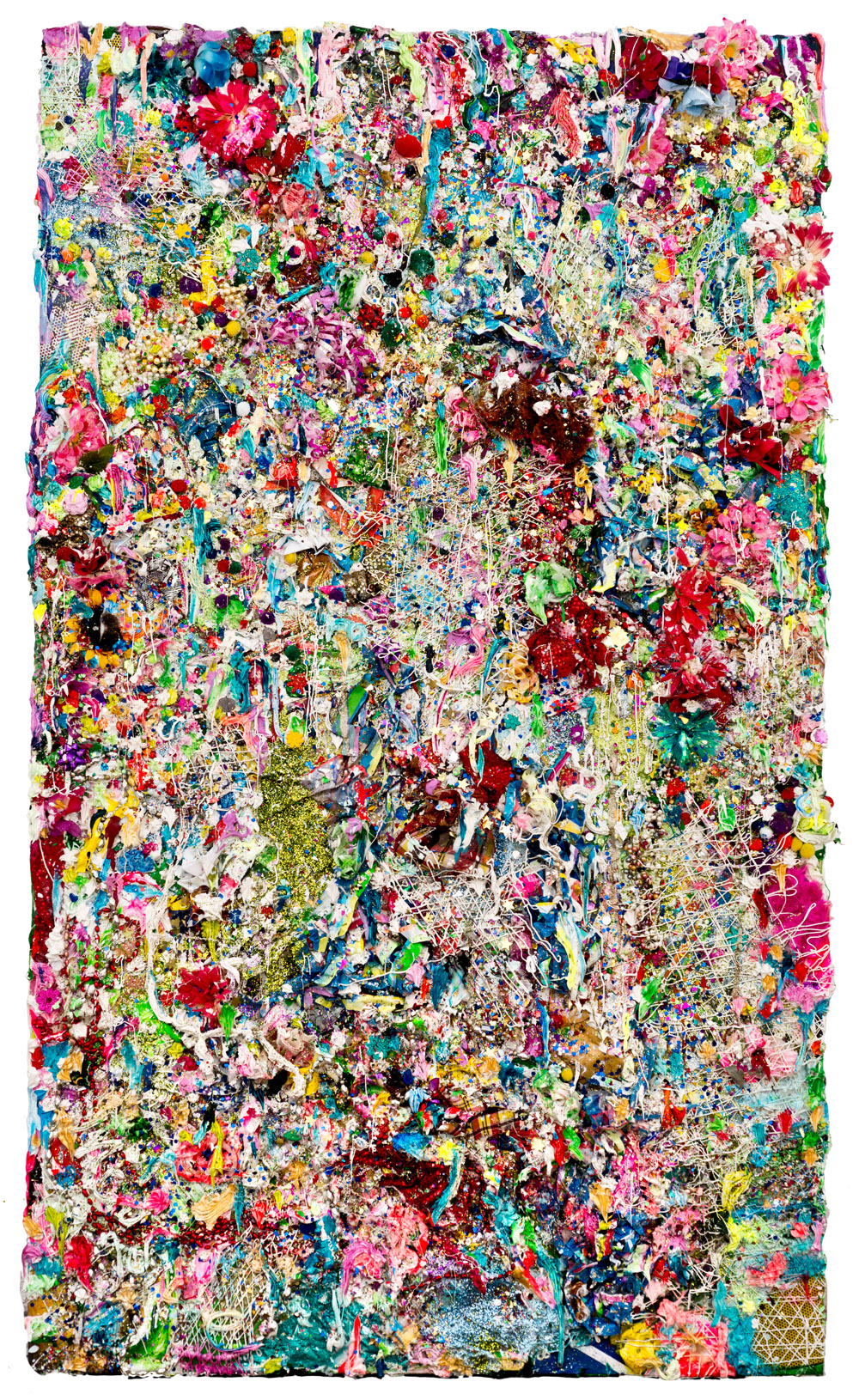 Horror Vacui-El Jardin Tropical ,  2013  Mixed media on canvas and wood 77 x 46 inches