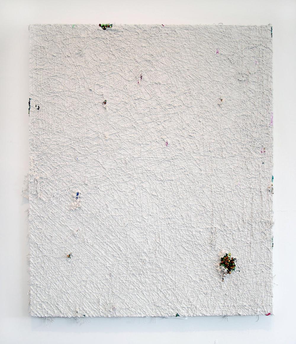 Un macramé con bouquet de flores ,2014  Mixed media on canvas 72 x 60 inches