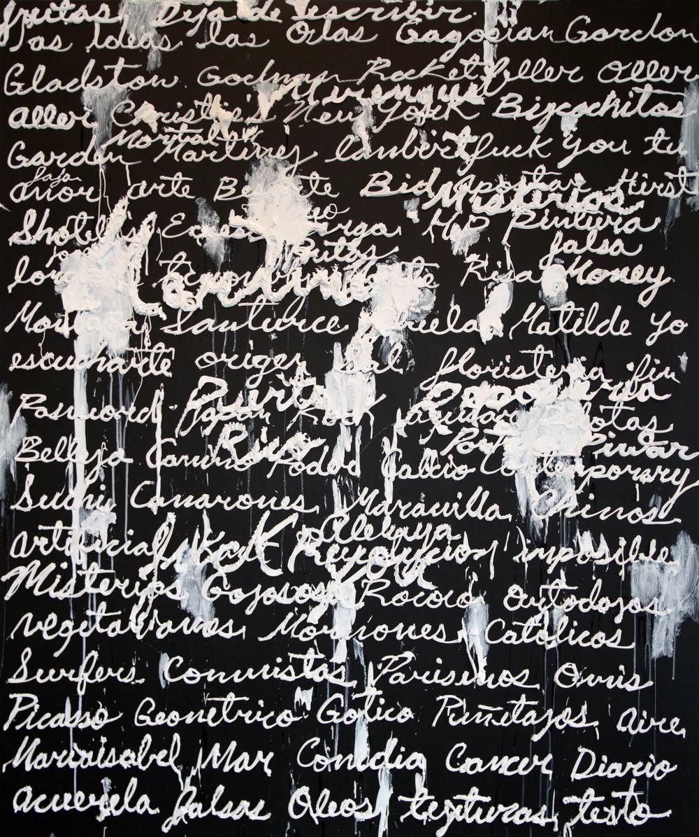 Serie texto y textura [Love Lambert], 2014  Mixed media on canvas 72 x 60inches