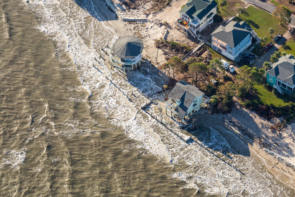 Hunting Island and neighboring Harbor Island where properties are being washed away by rising coastal waters and beach erosion.