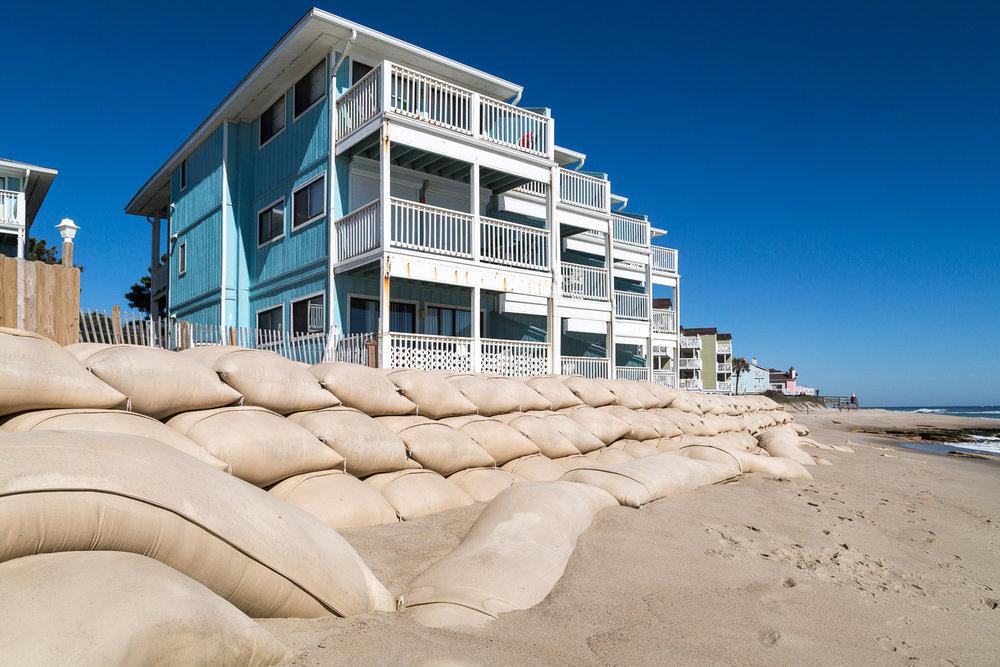 A condemned apartment property near Carolina Beach.