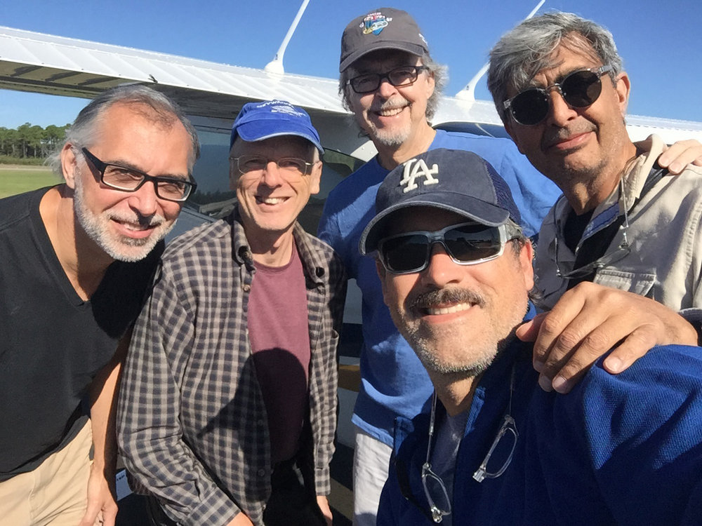 L-r: Rick Smith, our pilot Peter Stauble, Jerry Park, Mark Mosrie, and Nick Dantona.