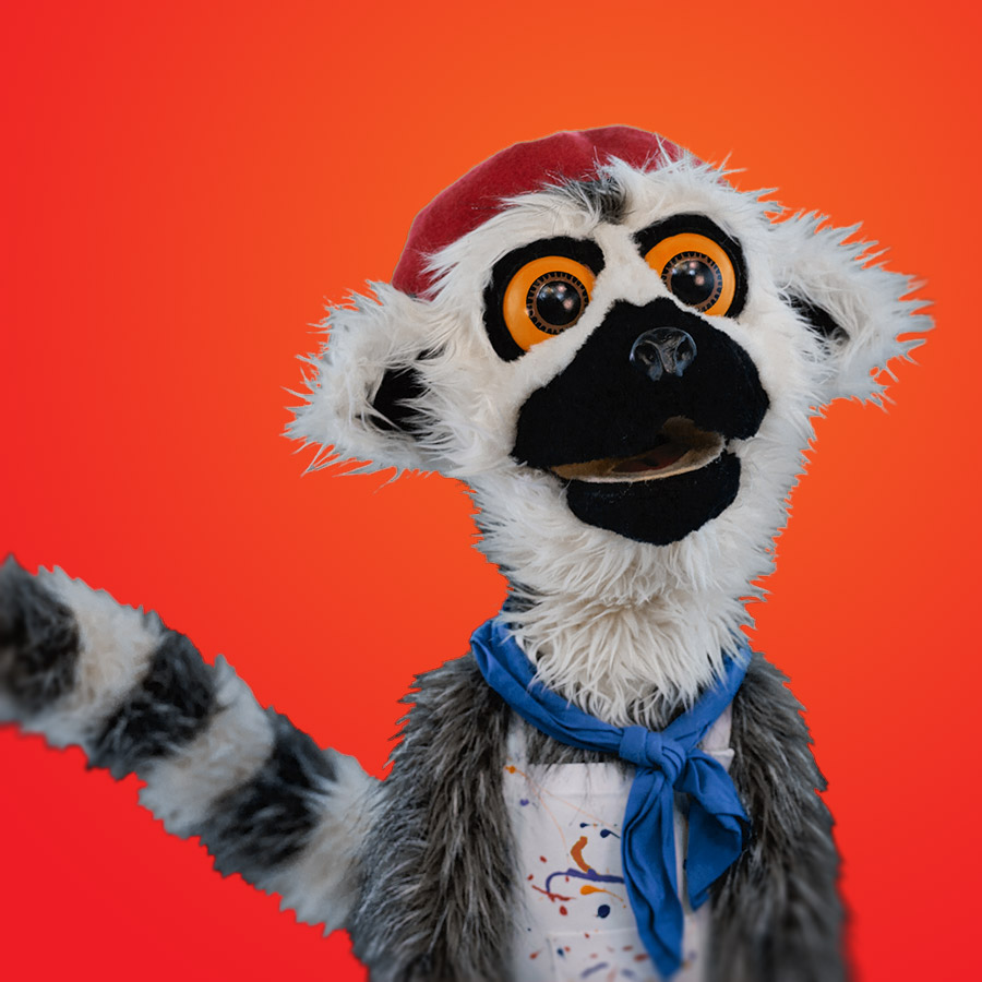 LEMUR The embodiment of Gallic sophistication and roguish charm. Lemur, surrounded by his canvases, sculptures and the visual out-pouring's of his creative soul, he is convinced that greatness awaits him…. and in the meantime, consoles himself with camembert.