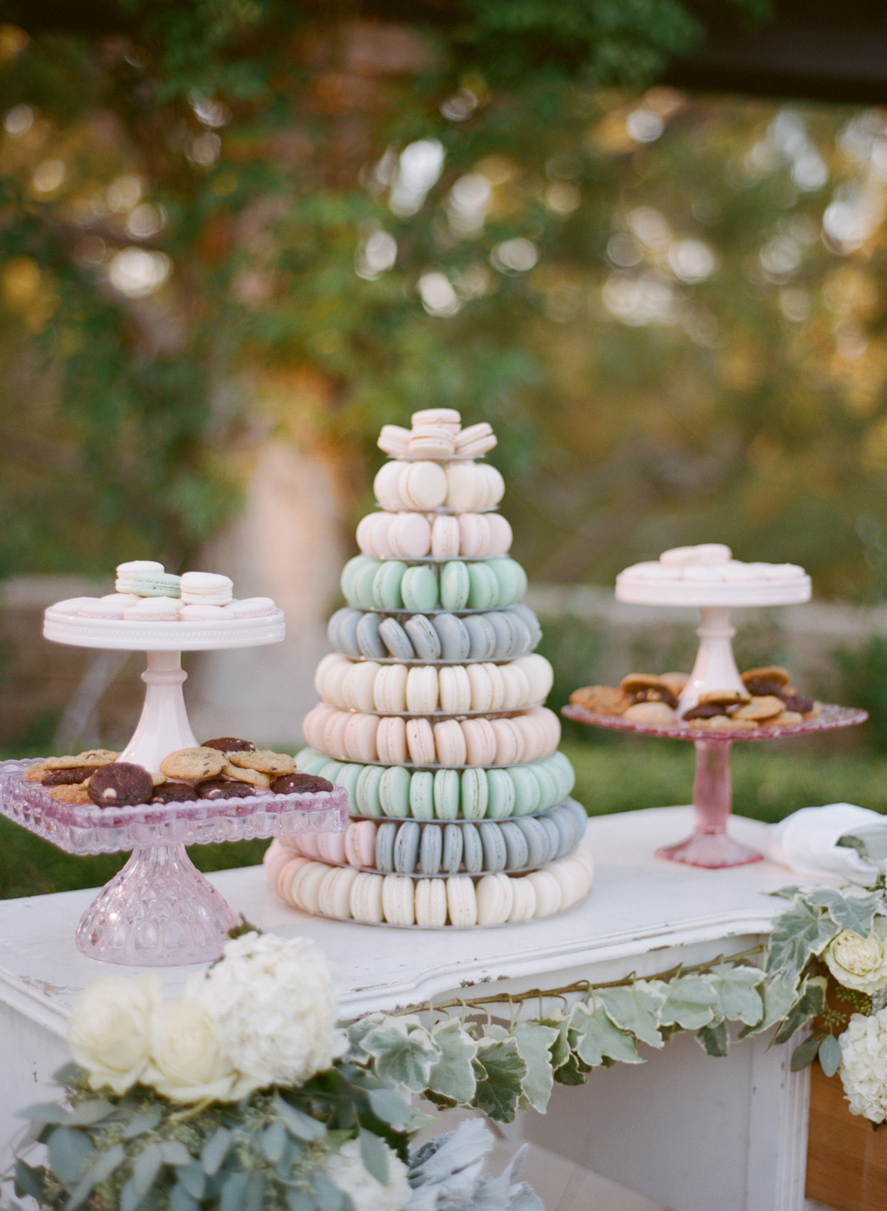 Macaron Towers with your color & flavor choices  Photo Credit:  Silvie Gil Photography