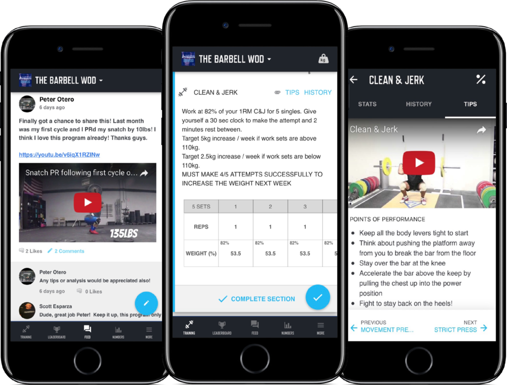 The Barbell WOD Program displayed on the mobile application TrainHeroic