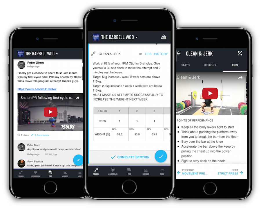 The Barbell WOD Program displayed on the TrainHeroic mobile application.