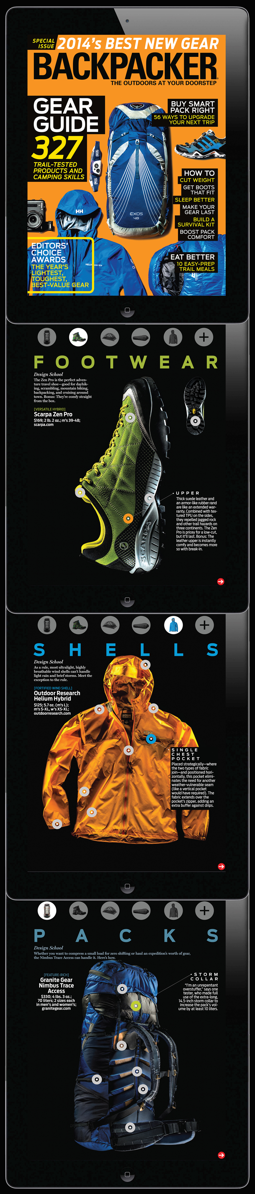 Backpacker's annual gear guide gets full interactivity with touch point specs.