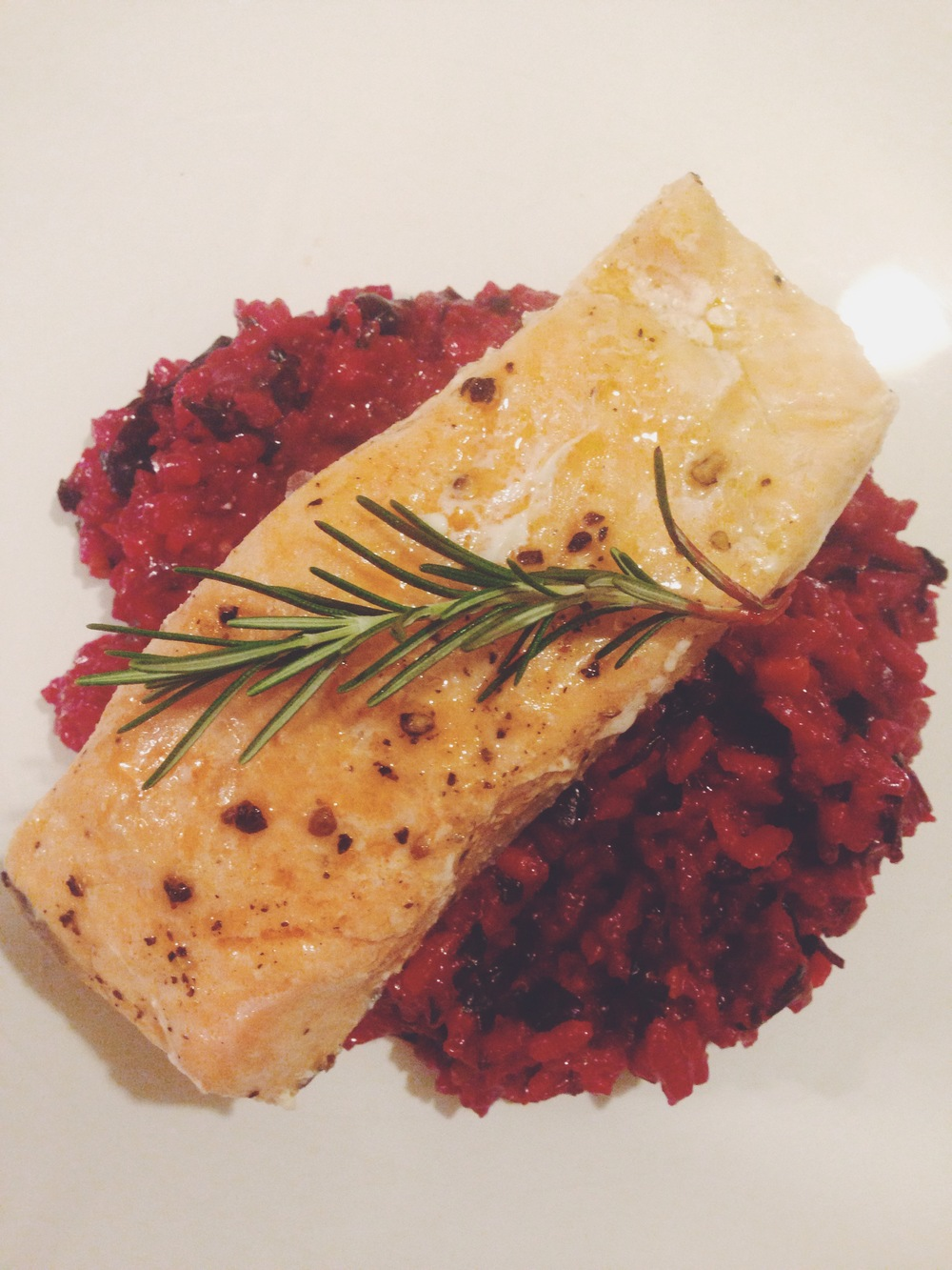 Chard+Beet Risotto topped with Baked Salmon