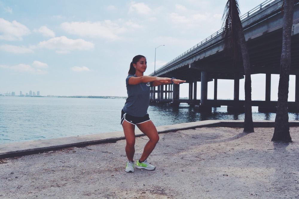 Crab Walks leg exercise Rickenbacker Bridge