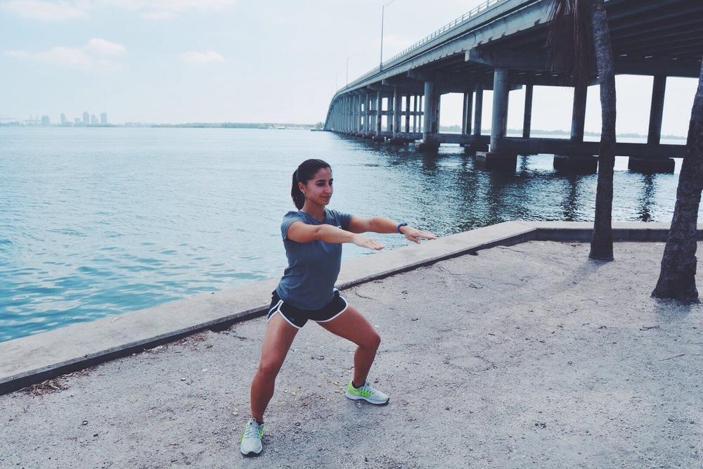 Crab Walk leg exercise Rickenbacker bridge