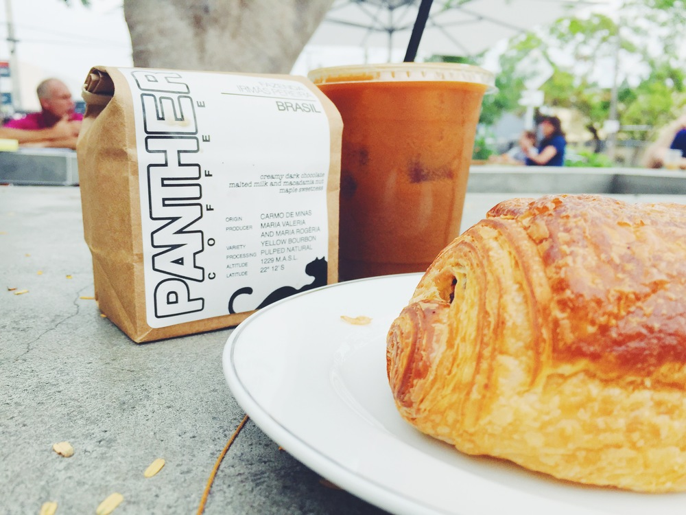 Panther Cold Brew Coffee Beans and Croissant