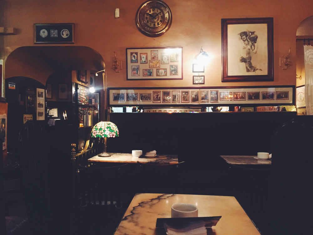 Spain in 2 Weeks: Photo Travel Guide. Madrid: Boutique hipster cafe in El Escorial. Ambience is Europe in the 1920's-1930's. Everything is detailed and antique.