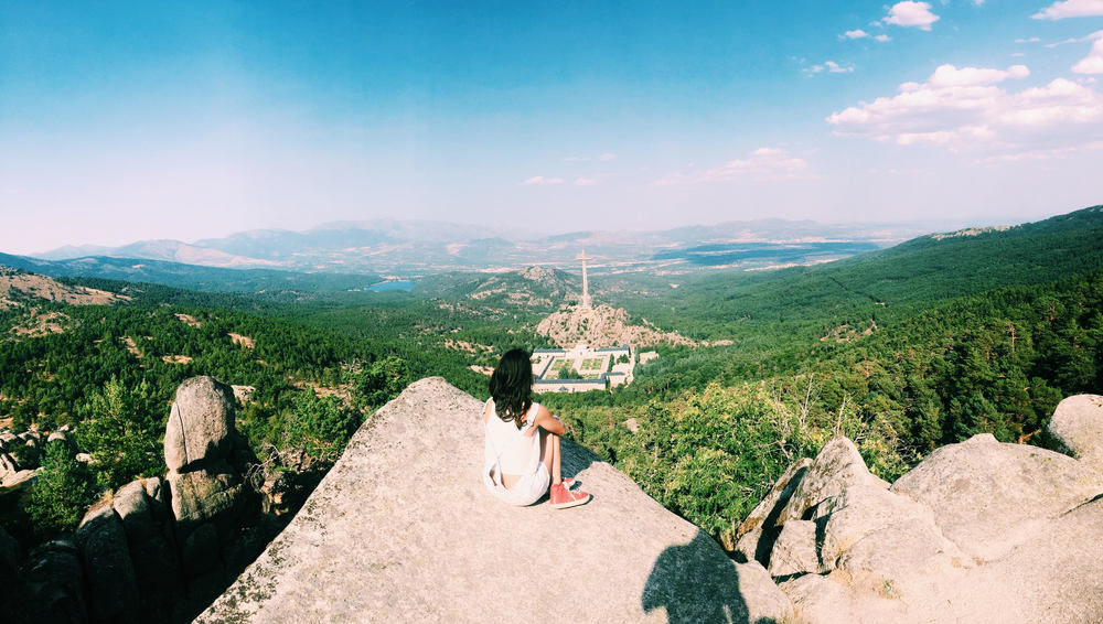 Spain in 2 Weeks: Photo Travel Guide. Madrid: View from Monte Abantos, a mountain of the Sierra de Guadarrama, looking down at Valle de los Caídos, or Vally of the Fallen. A doable hiking trail with beautiful views.