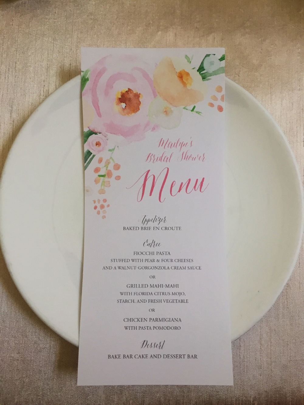 DIY bridal shower menu
