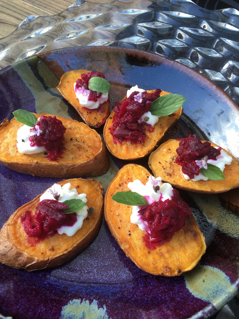 Easy yams with beet jam