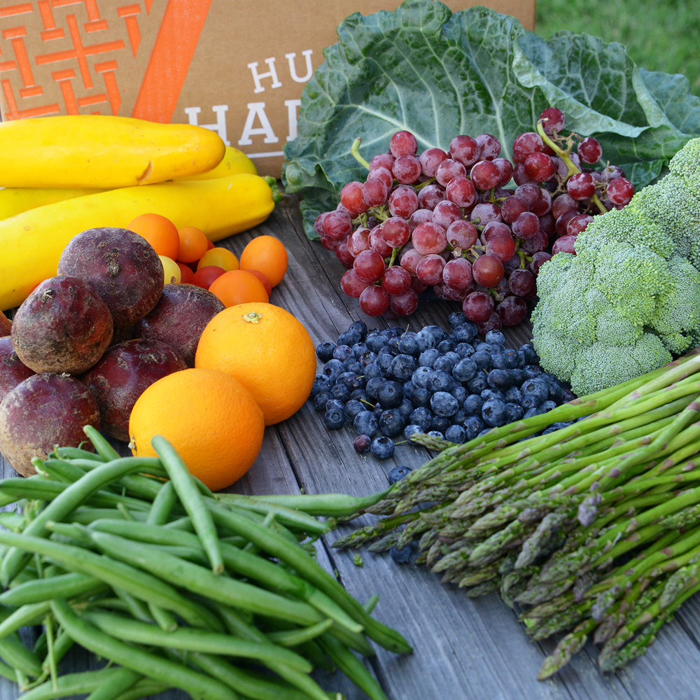 July 27,2018Squash, Collard Greens, Grapes, Broccoli, Blueberries, Asparagus, Green Beans, Oranges, Beets, Cherry Tomatoes - Find the recipes here