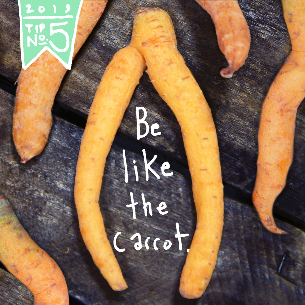Accept the reality of where we are right now. - This carrot doesn't worry about being perfect.It just grows. Let's be like the carrot. No matter what we look like or where we are on our journey towards balance and overall wellness, we're still all good. It's not about reinventing ourselves - but rather accepting who we are right now, so we can begin to evolve.