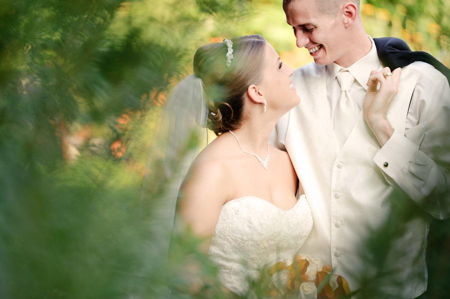 garden bride and groom
