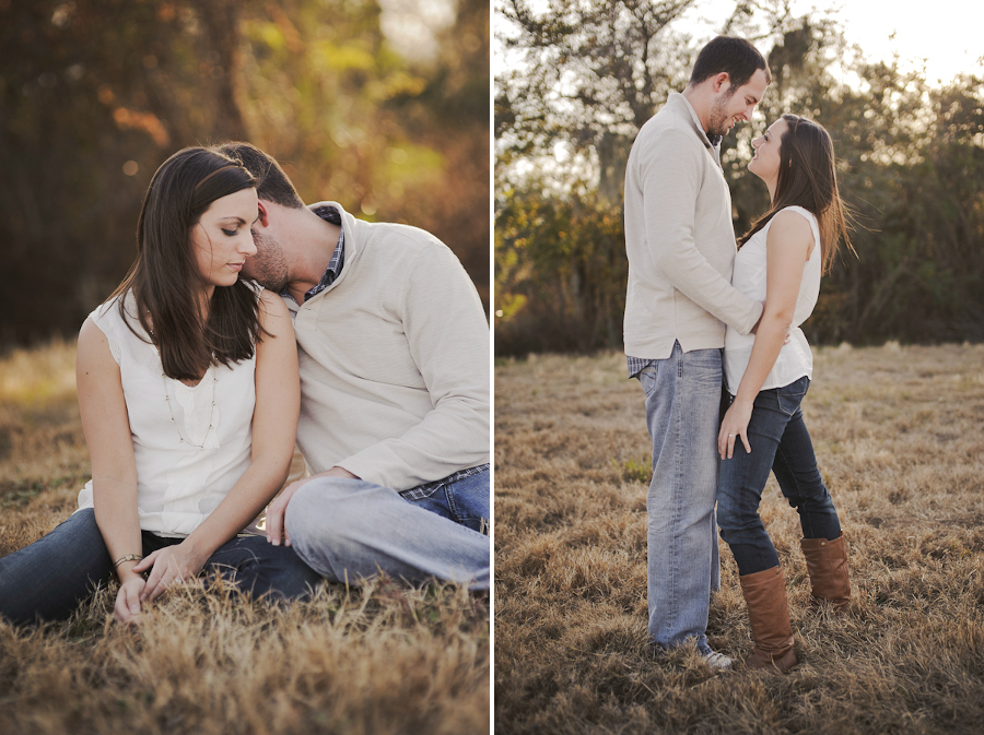 engagement session in a grassy field