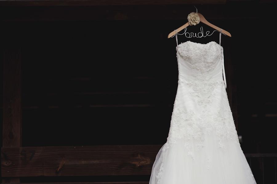 Wedding Dress in a Barn