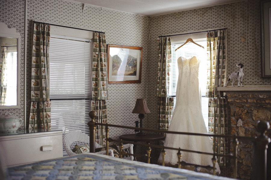 vintage wedding dress in antique room | santa fe river ranch